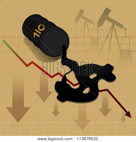 Crude Oil Price Fall Down Abstract Illustration With Red Leaked Oil From Barrel To Earth With Refine