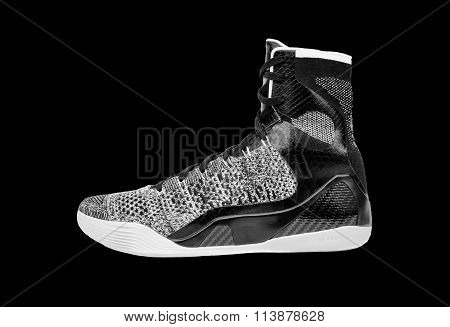 Modern High-top Grey And Black Basketball Shoe Sneaker