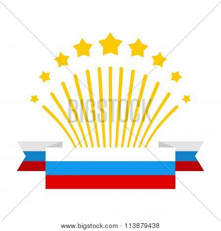 Salute And Flag Of Russia. Fireworks And Patriotic Ribbon From  Tricolor Russian Flag. Design Elemen