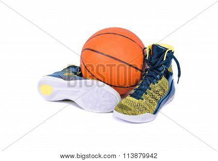 Modern High-top Yellow And Blue Basketball Shoe Sneaker