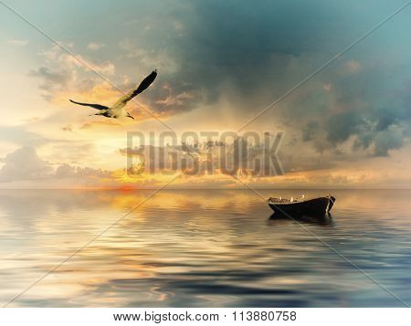 Vintage Landscape With Boat And Birds