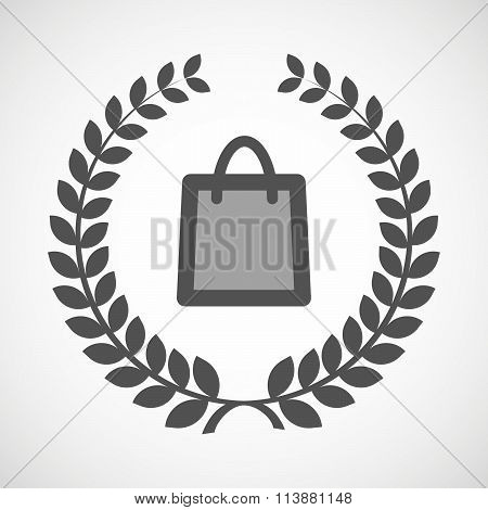 Isolated Laurel Wreath Icon With A Shopping Bag