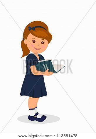 Cute little girl in a dark blue dress reading a book. Isolated character child standing with a book