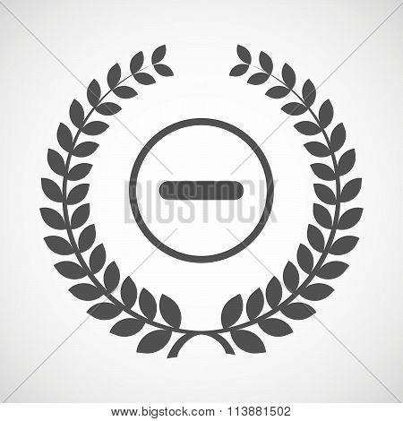 Isolated Laurel Wreath Icon With A Subtraction Sign