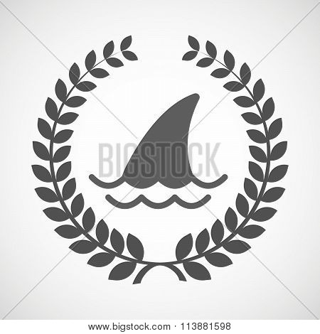 Isolated Laurel Wreath Icon With A Shark Fin