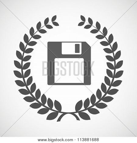 Isolated Laurel Wreath Icon With A Floppy Disk