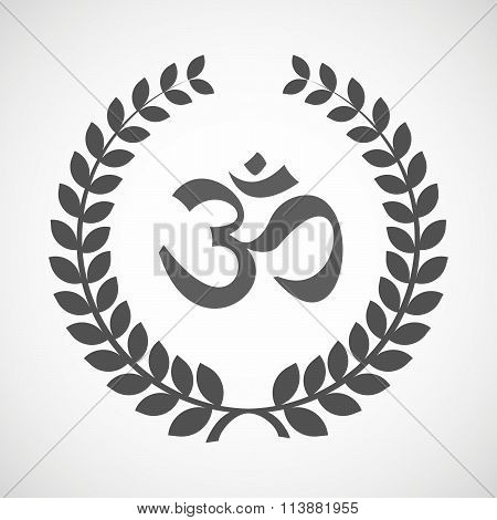 Isolated Laurel Wreath Icon With An Om Sign