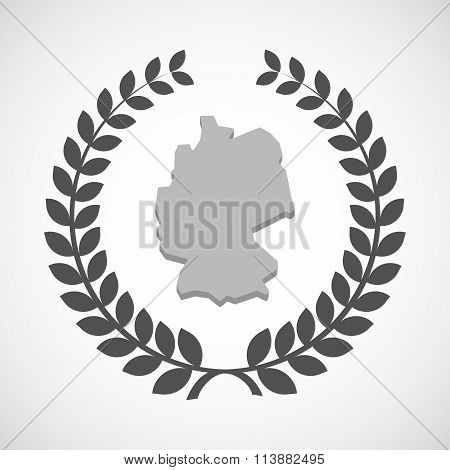 Isolated Laurel Wreath Icon With  A Map Of Germany