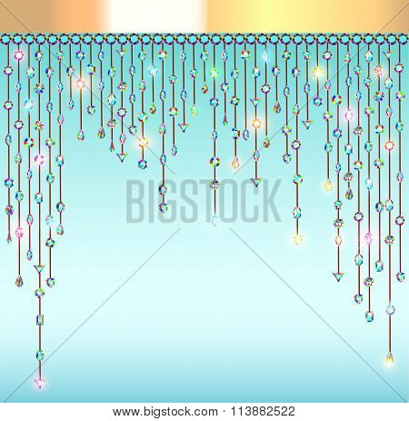 illustration abstract background with pendants with stones and l