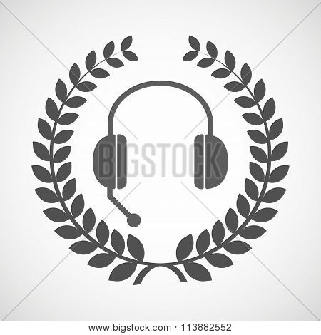 Isolated Laurel Wreath Icon With  A Hands Free Phone Device