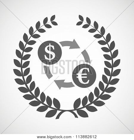Isolated Laurel Wreath Icon With A Dollar Euro Exchange Sign
