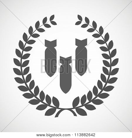 Isolated Laurel Wreath Icon With Three Bombs Falling