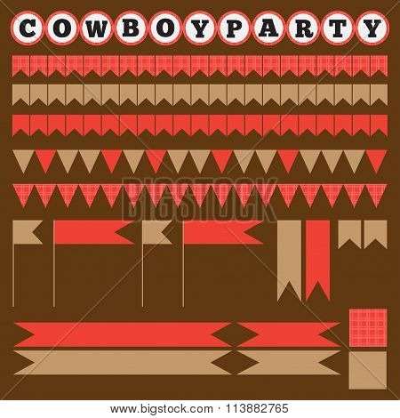 Printable Set Of Vintage Cowboy Party Elements
