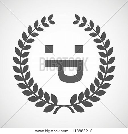 Isolated Laurel Wreath Icon With A Sticking Out Tongue Text Face