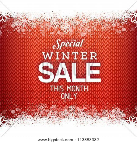 Red knitted Sales background with snowflakes