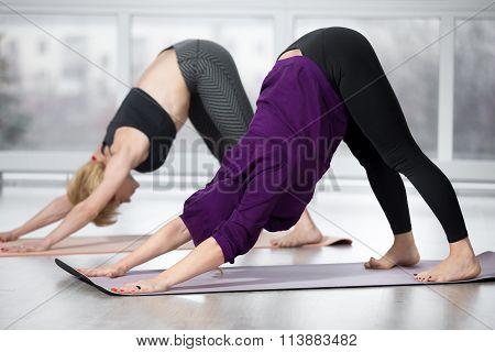 Senior Women Doing Downward-facing Dog Pose