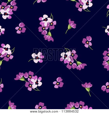 Seamless Floral Patter With Little Pink Flowers