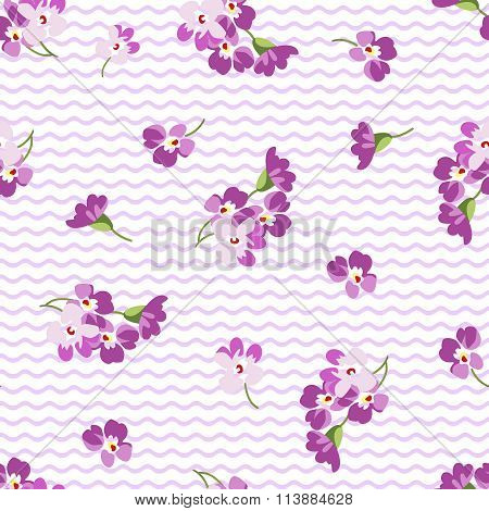 Seamless Floral Pattern With Little Purple Flowers