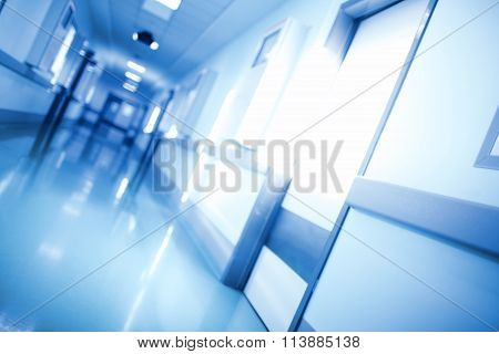 Unfocused Medical Background Of Corridor In Monochrome