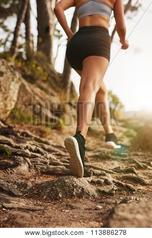 Woman Running On Rocky Trails