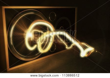 Glowing Radio Wave And Old Style Speaker
