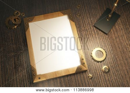 Top View Of Steampunk Background With Blank Picture Frame On A Wooden Table, Mock Up