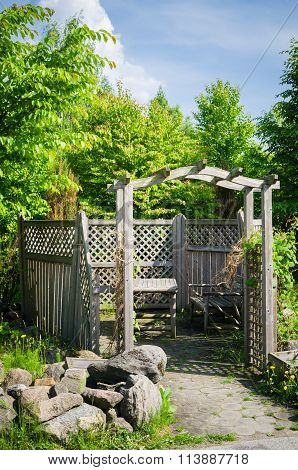 Pergola And A Place To Relax In The Garden