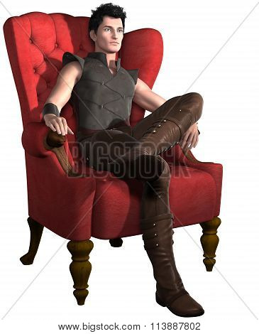 Man in red chair