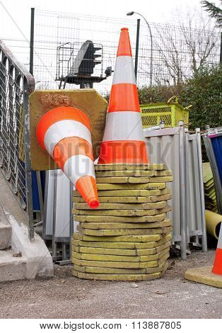 Cones stacked yards Industrial site
