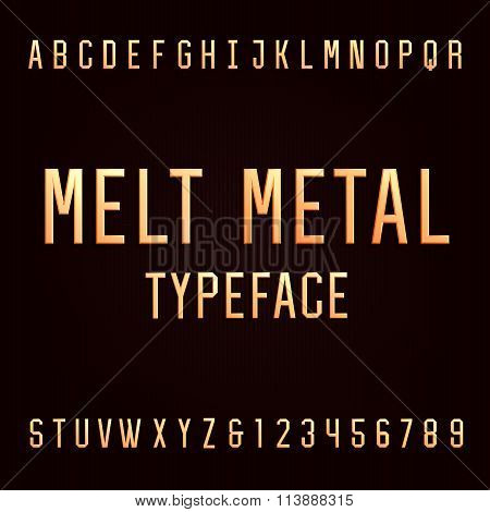 Melt metal alphabet vector font