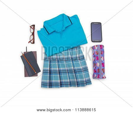Outfit Of Student.different Objects On White Background.