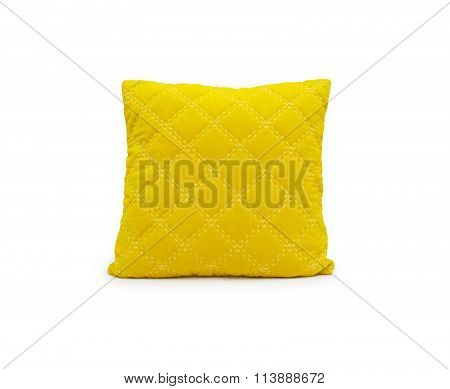 Yellow Pillow Isolated On White