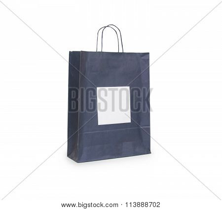 Black Paper Bag With Handles On A White Background