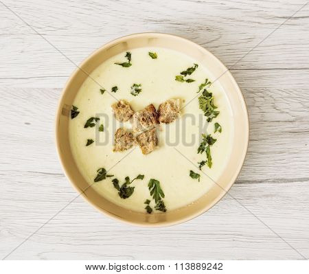 Leek Soup With Parsley And Pieces Of Toasted Bread, Food Theme