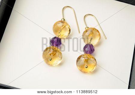 Handmade Earrings With Crystal Beads