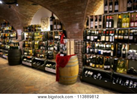Blurred Interior Of A Bottle Store