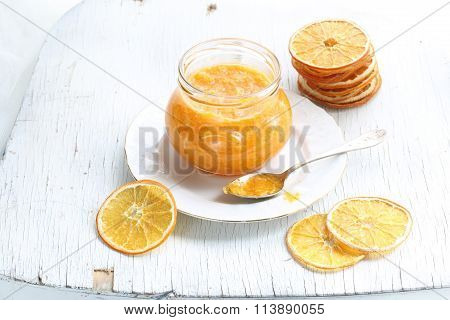 Orange Confiture In A Glass Jar
