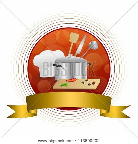 Abstract background red cooking white hat saucepan soup ladle knife paddle kitchen pepper olives