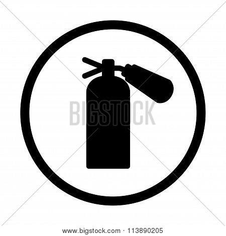Fire Extinguisher Icon, Isolated, On White  Background.