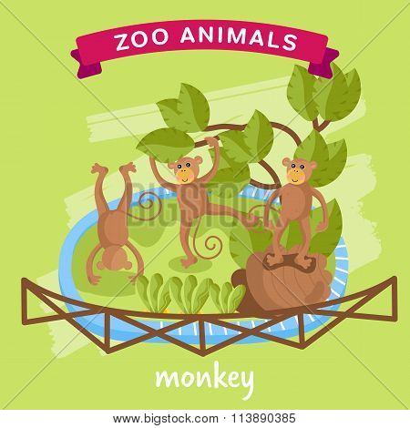 Vector Zoo Animal, Monkey