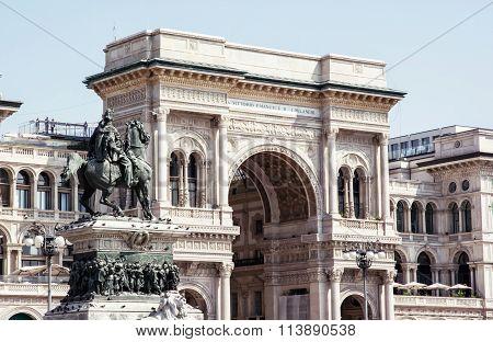 Galleria Vittorio Emanuele Ii With Equestrian Statue In Milan City, Italy
