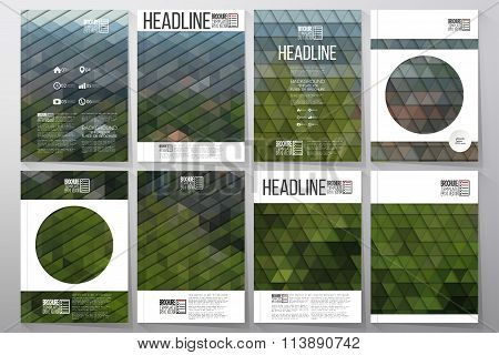 Business templates for brochure, flyer or booklet. Green leaves texture. Collection of abstract mult