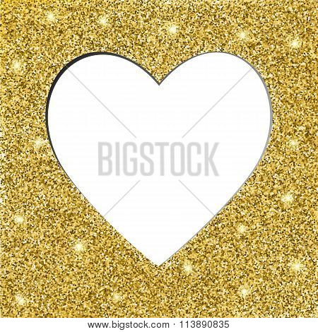 gold glitter texture and heart frame