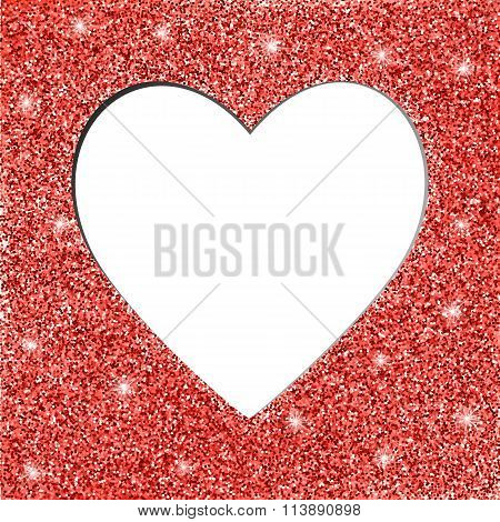 red glitter texture and heart frame