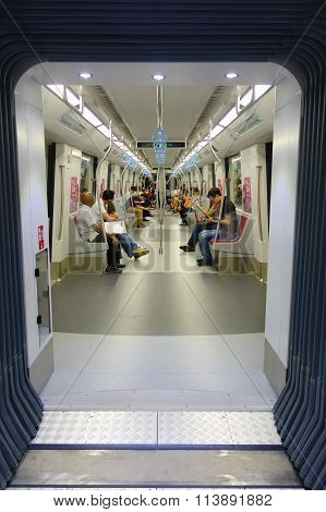 Passengers In The Train Mrt. Singapore Subway