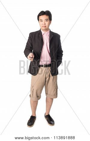Asian Handsome Man With The Keys Of His New Car, Isolated On White Background