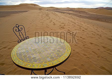 Table And Seat Yellow Sand