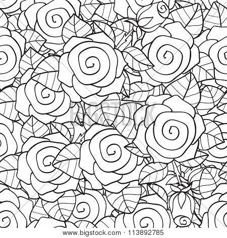 Adult Coloring Book Page Design With Floral Seamless Pattern