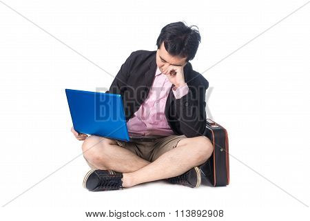 Asian Businessman Working On Computer Laptop, Crying, Desperate And Worried In Work Stress And Busin