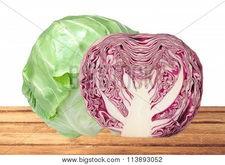 Tasty Green And Red Cabbage On Wooden Table Isolated On White
